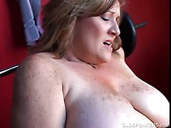 Amateur, Chubby, Milf, Huge boobed mom gets very uncomfortable, Xhamster.com