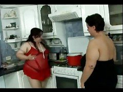 Kitchen, Lesbian, Bbw, Aunt fucked in a kitchen while uncle is in a, Xhamster.com