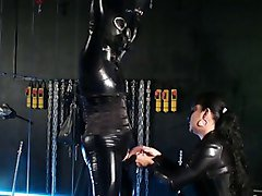 Latex, German, German mistress whipping male slave, Xhamster.com