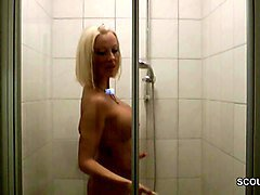 German, Caught, Shower, Mother and daughter caught and fucked, Xhamster.com
