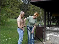 Granny, German, Granny anal in a field, Xhamster.com