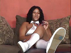 Ebony, Cheerleader, Cheerleader threesome with tommy gunn, Xhamster.com
