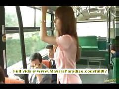 Asian, Bus, Hairy, Schoolgirl on the bus has, Drtuber.com