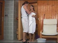 Sauna, Cum swallow, Tube8.com