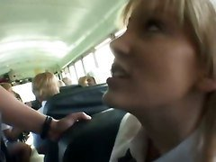 Asian, Bus, Blonde, 2 girls and her slave, Tube8.com