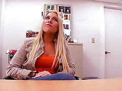 Blonde, Office, Facial, Footjob from girl in his office, Redtube.com