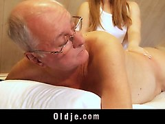 Blonde, Ass, Old Man, Mom and daughter hard fucking by young man, Nuvid.com