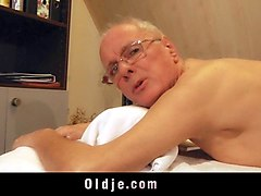 Blonde, Ass, Old Man, Chubby blonde old man, Sunporno.com