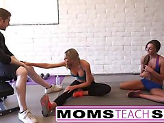 Milf, Threesome, Mom teaches teen, Sunporno.com