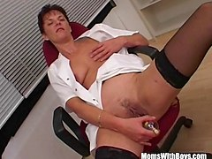 Doctor, Office, Stockings, Milf goes anal for two doctors, Sunporno.com
