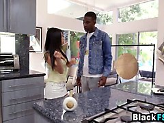 Asian, Black, Kitchen, Watch his wife fucked by black cock, Gotporn.com