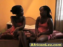 Black, Lesbian, Couple, Double ended dildo sharing couple, Nuvid.com